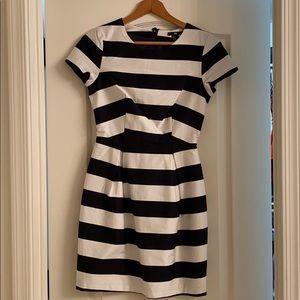 H&M black and white strip dress